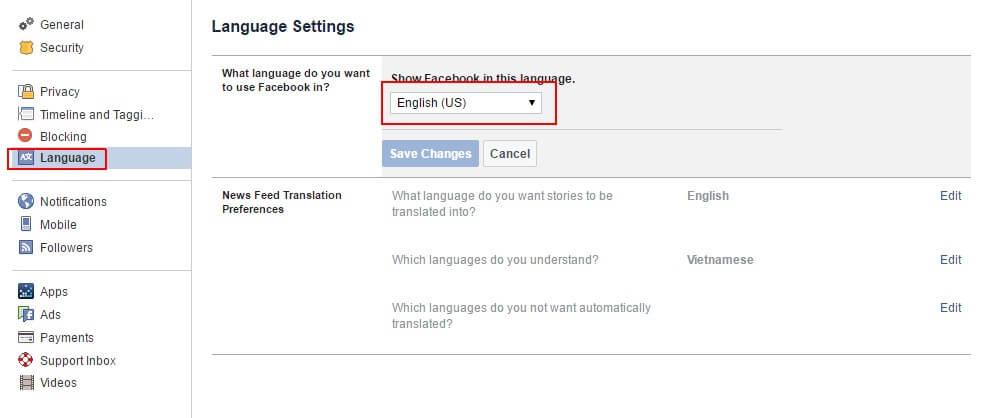 lựa chọn ngôn ngữ