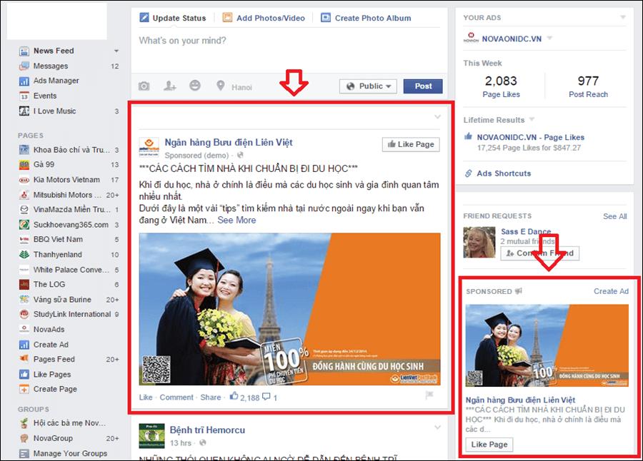 Hiển thị quảng cáo facebook như thế nào