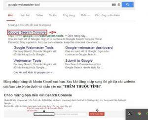 Truy cập vào trang Google Webmaster Tool